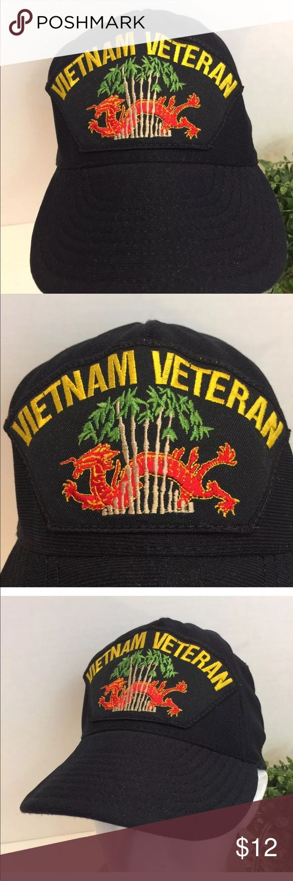 Vietnam Veteran US Military Soft Slouch Bill Hat Vietnam Veteran United States Military Soft Flexible Slouch Bill Hat SnapBack Blue Black  This is a beautiful black blue hat honoring the Vietnam Veteran. Any Veteran would be proud to wear this hat.   Comes from a smoke free pet free environment. Will be shipped in a box. Unbranded Accessories Hats