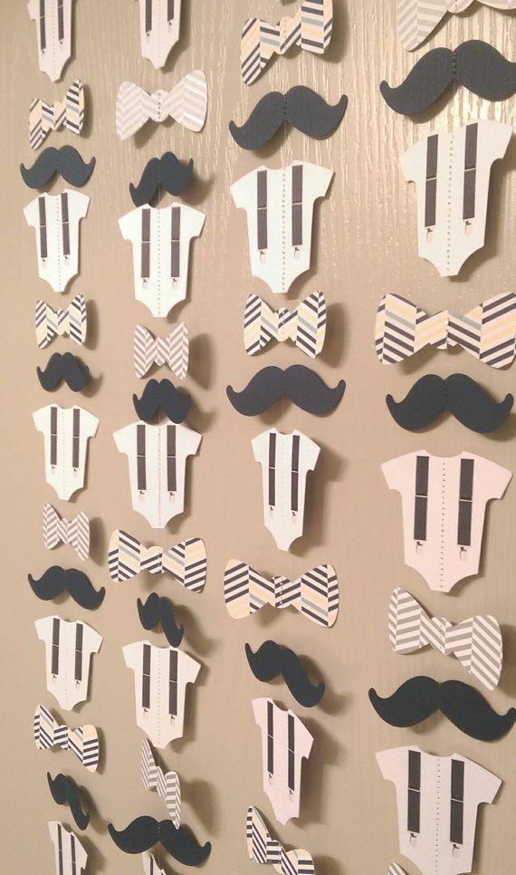 Mustache Bow Tie Suspender Onesie Paper Garland by thepapercove