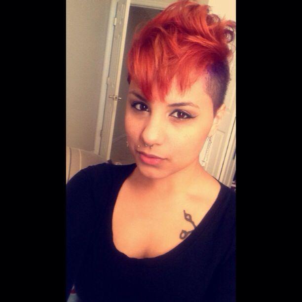 Orange hair. Female mohawk.