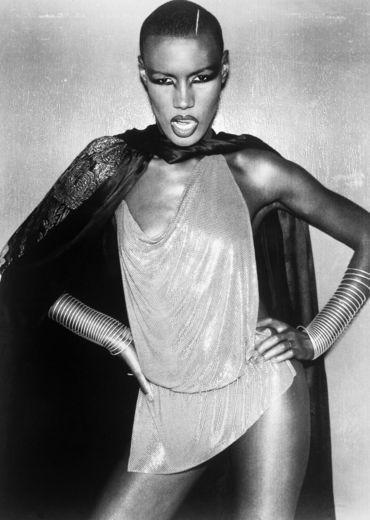 A 1977 portrait of disco diva Grace Jones in standard provocative fashion.