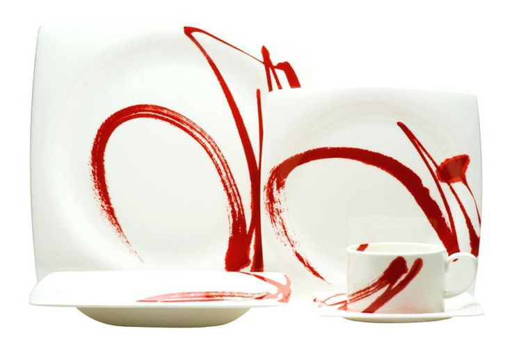 Contemporary Square Dinnerware Paint It Red Place Setting Contemporary White Square Dinner Plates | brosha.me
