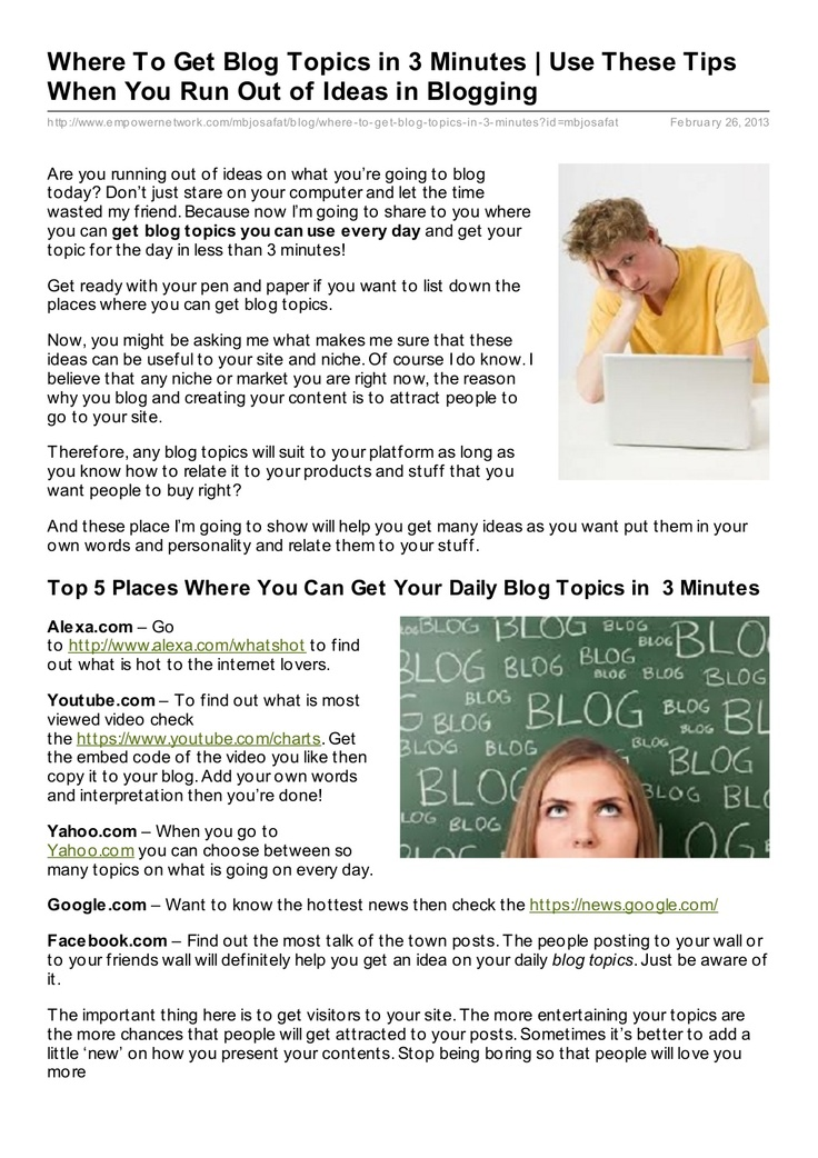 3 minutes to get blog topics