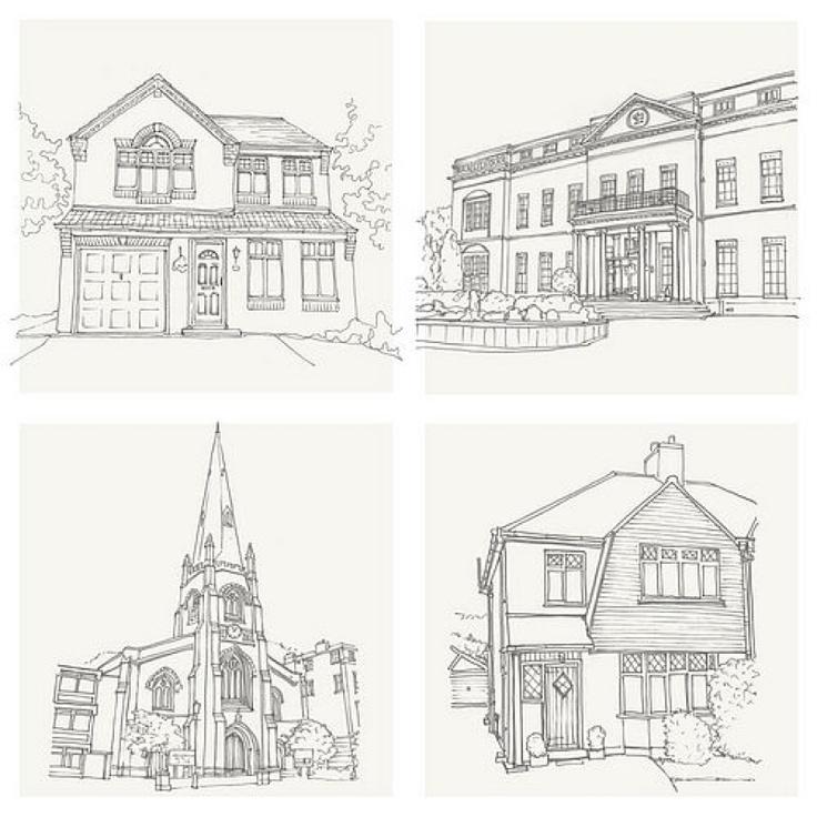 House Pencil Sketch by Letterfest