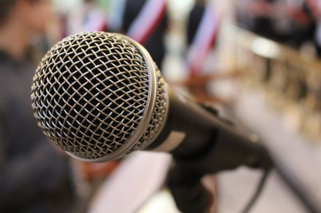 Sound Detail Focus On Foreground Loud Metallic Microphone Sound Of Life Voice…