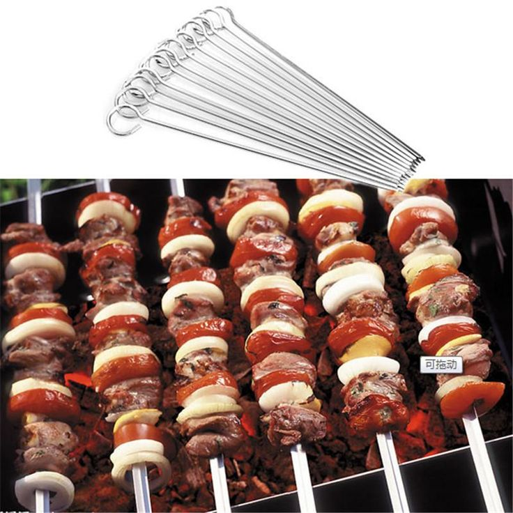 12pcs/set Stainless Steel BBQ Skewers Barbecue Kabob 30cm Needle Utensil Forks For Outdoor Camping Party Tools - 10 MINUS
