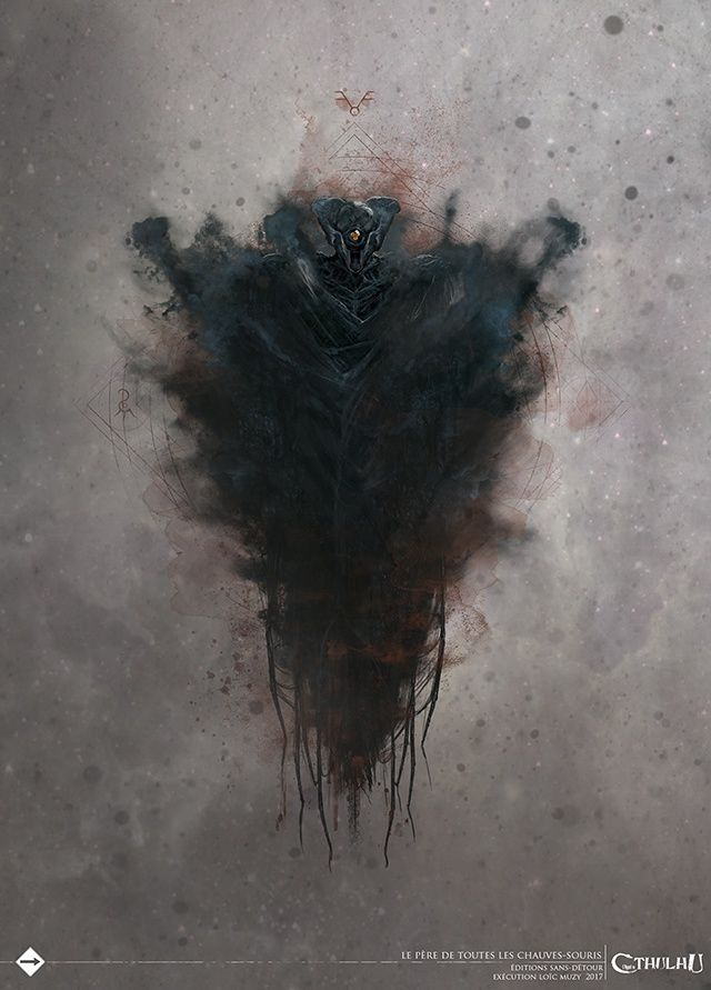 """Encore appelé Celui qui Hante les ténèbres, le Père de toutes les chauves-souris est l'un des avatars les plus connus du Dieu extérieur. Sous cette forme, Nyarlathotep ressemble un peu à un gigantesque homme chauve-souris.  """"Je le vois, venir ici, vents infernaux, à peine visible, des ailes noires, que Yog-Sothoth me vienne en aide, l'œil aux trois lobes""""  H.P. Lovecraft, The Haunter in the Dark"""