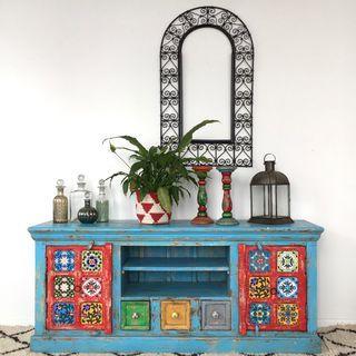 Boho TV Cabinet or Sideboard: Blue