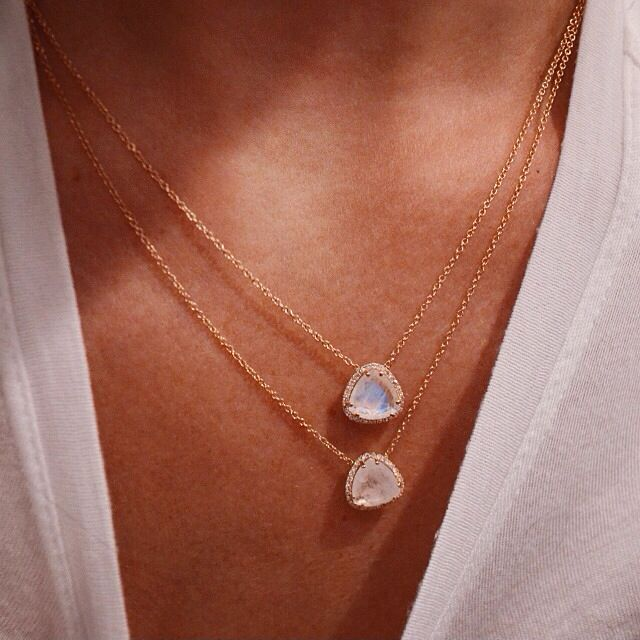 Petite Triangle Moonstone necklaces by Luna Skye