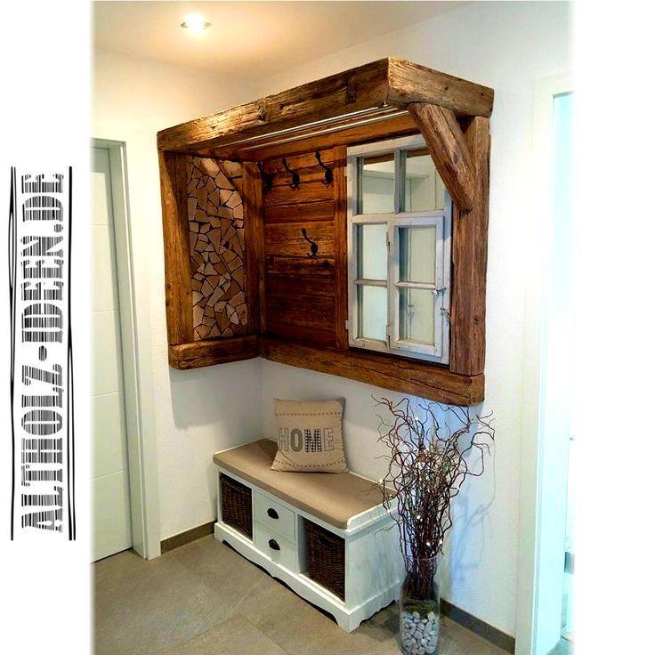 Garderobe aus Altholz und Scheitholz als Blickfang im Eingangsbereich. Praktisch… #als #alt…