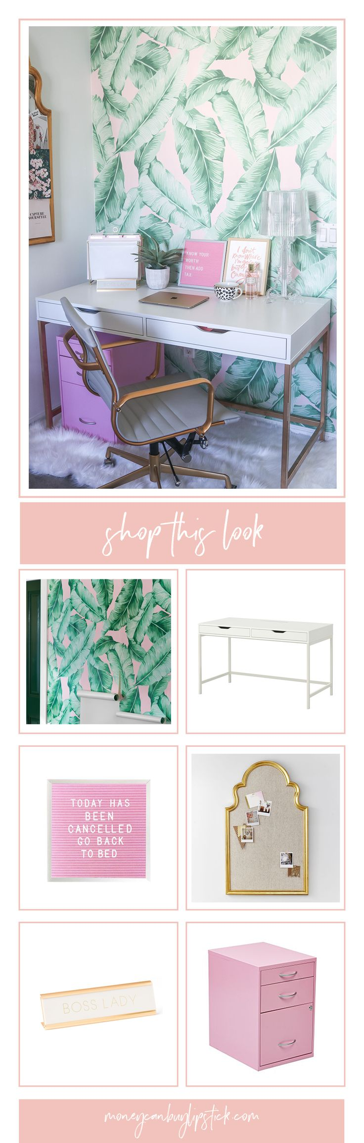 Home Decor   Blogger Office   Tropical Print Wallpaper   Pink Office   White and Gold Desk
