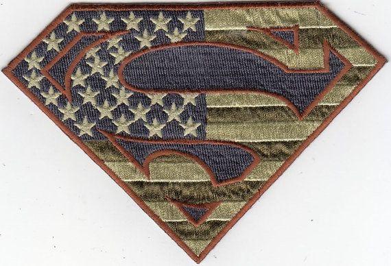 Large American Flag Superman Logo Shaped by RedefiningVintageluv