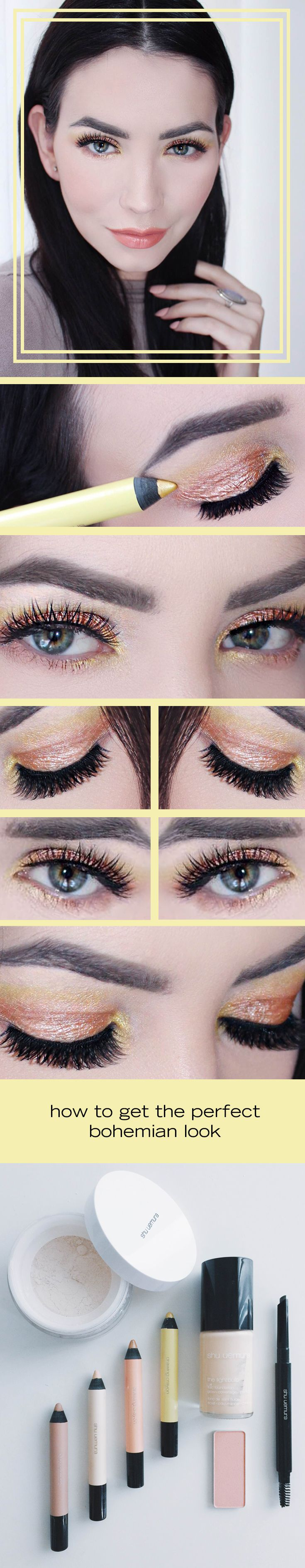 pastel yellow and sparkling copper create a beautiful sunset inspired makeup look for spring and summer. See how to re-create this favorite shu uemura eye shadow inspiration by following this tutorial.
