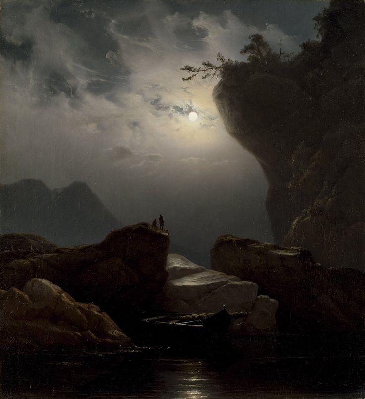 """Knud Andreassen Baade (28 March 1808 - 24 November 1879)  """"Kystlandskap i måneskinn"""", 1851  (""""Coast landscape in moonlight"""")"""