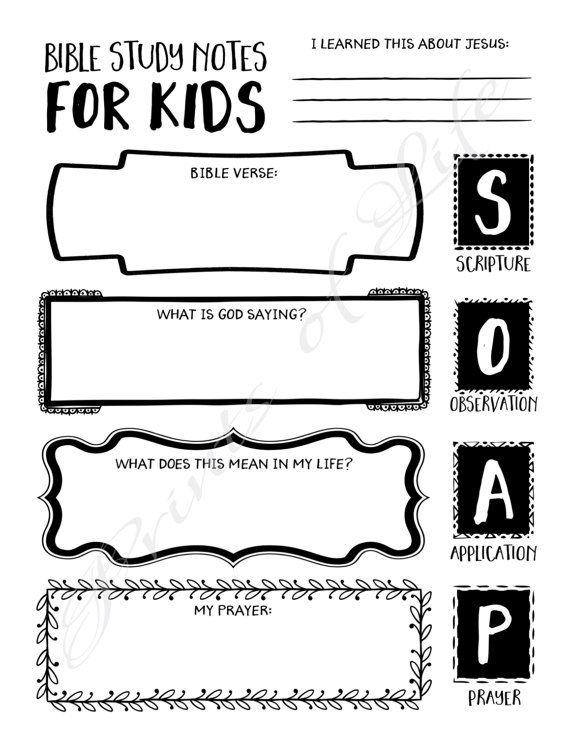Bible Study Notes for Kids. PDF printable. SOAP. Boys girls