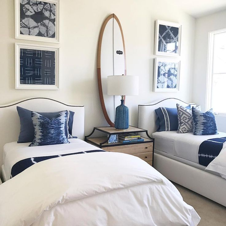 Beach House Bedroom Guest Room Coastal Kids Room Twin Beds Surf Board Navy And White Blue And White Twin Beds Guest Room Guest Bedrooms Home Bedroom