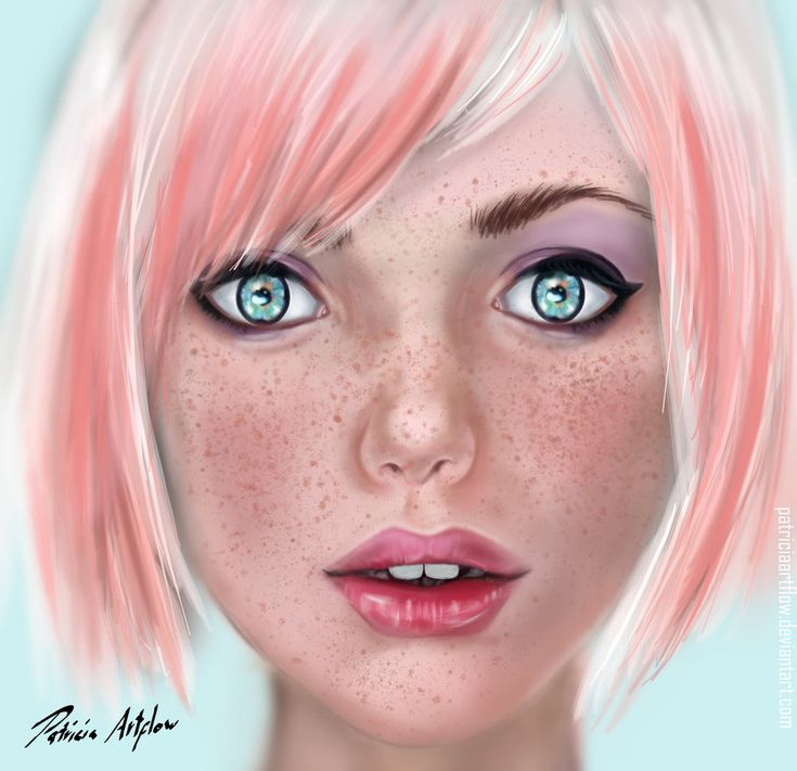 Digital art, painting of a young girl with cute pink short hair and beautiful blue eyes.