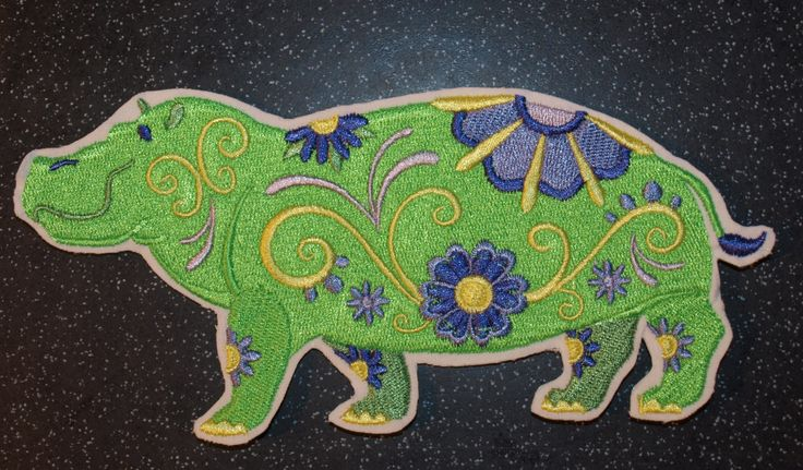 Happy Flowery Hippo Hippopotamus Iron on Sew on Motif Patch by woosbagsandcrafts on Etsy