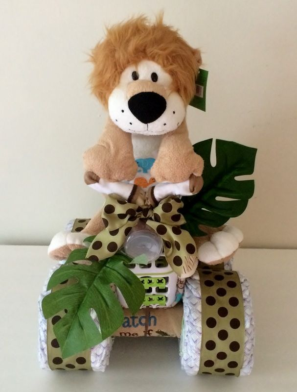 King of the Jungle Diaper Bike, Safari Diaper Cakes, Jungle Diaper Cakes,  Diaper Creations