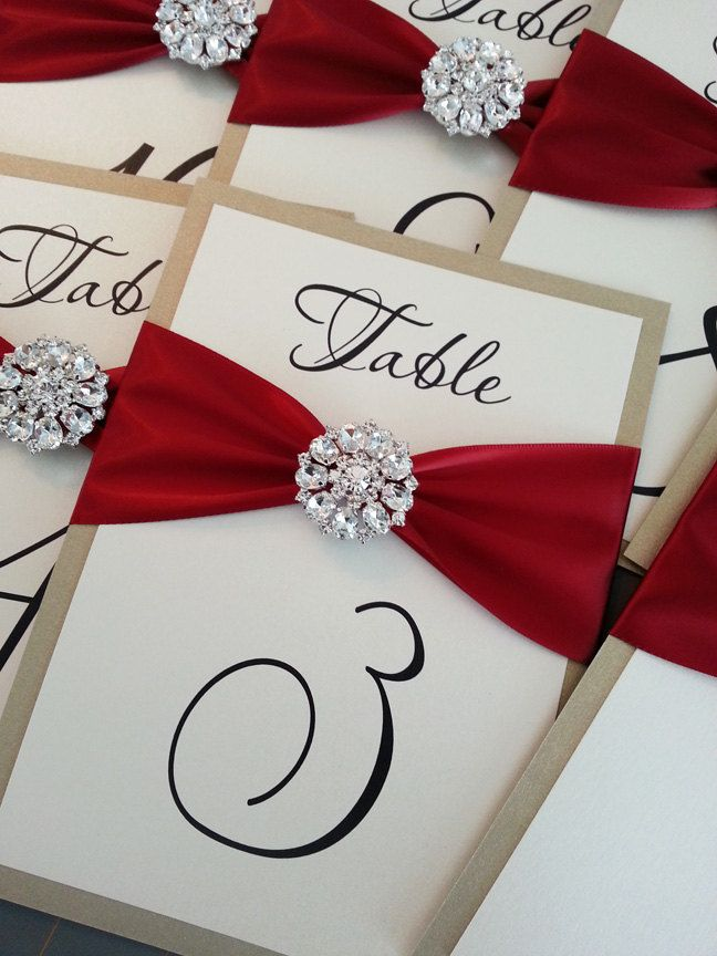 Elegant Crystal Embellishment Table Numbers, great for a winter wedding