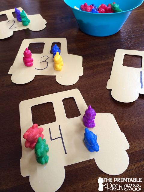Cute counting bear activity. Cut out buses with a die cut or buy from the dollar store.
