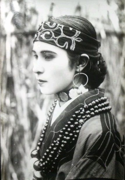 Ainu woman, northern Japan.  About 1920's