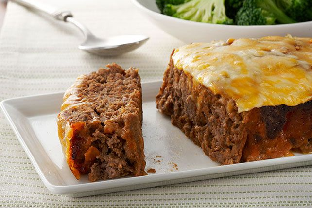 Meatloaf is especially delicious when it's topped with the makings of a cheeseburger: melty cheese and ketchup.
