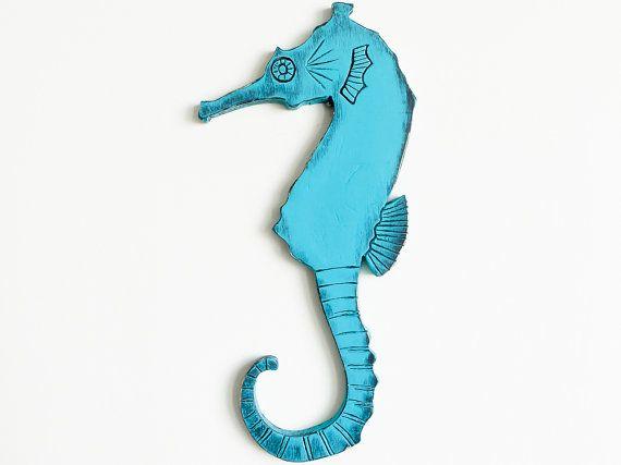 Decoración Náutica Caballito de Mar Madera Azul por WoodAndAllen
