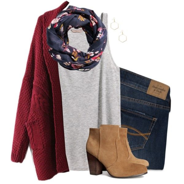 Oversized cardigan, floral scarf & suede boots by steffiestaffie on Polyvore featuring H&M, Abercrombie & Fitch and Sole Society