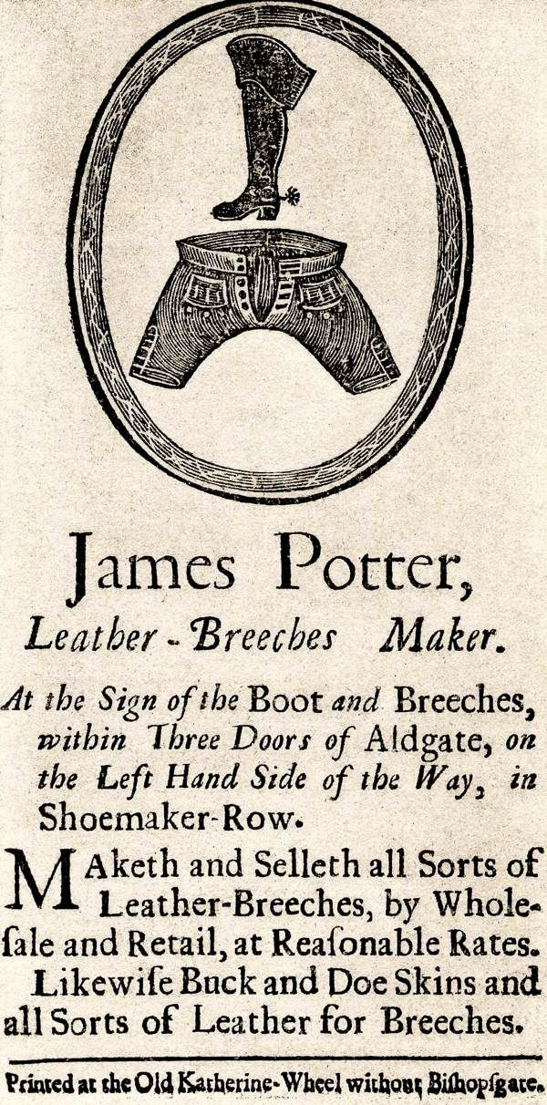 15 best trade cards images on pinterest 18th century trading more leather breeches boots james potter leather breeches maker century trade business card reheart Images
