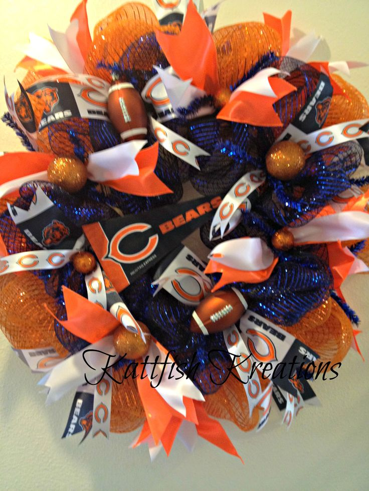 Deco Mesh Chicago Bears Wreath -- Custom Order -- SOLD  https://www.facebook.com/Kattfish-Kreations-659509324079375/