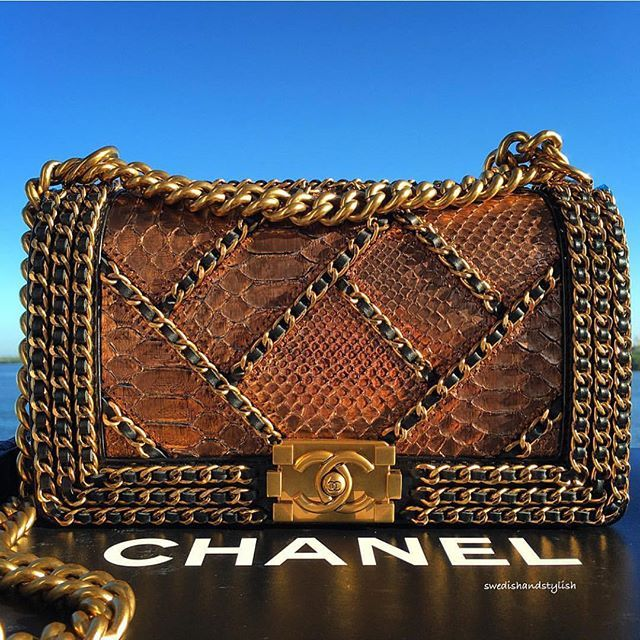 Incredible and Gorgeous Python CHANEL Boy Bag from @swedishandstylish  #pythonbag #chanelbag #chanelboy #boybag