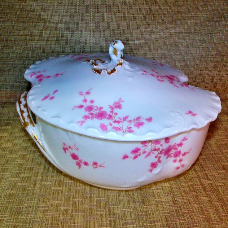Antique Haviland Limoges H&co/L Tureen ~Gorgeous Pink and White Covered Serving Dish with Gold Trim ~ 1875-1882 Eclectic Cabinet China by EclecticJewells on Etsy