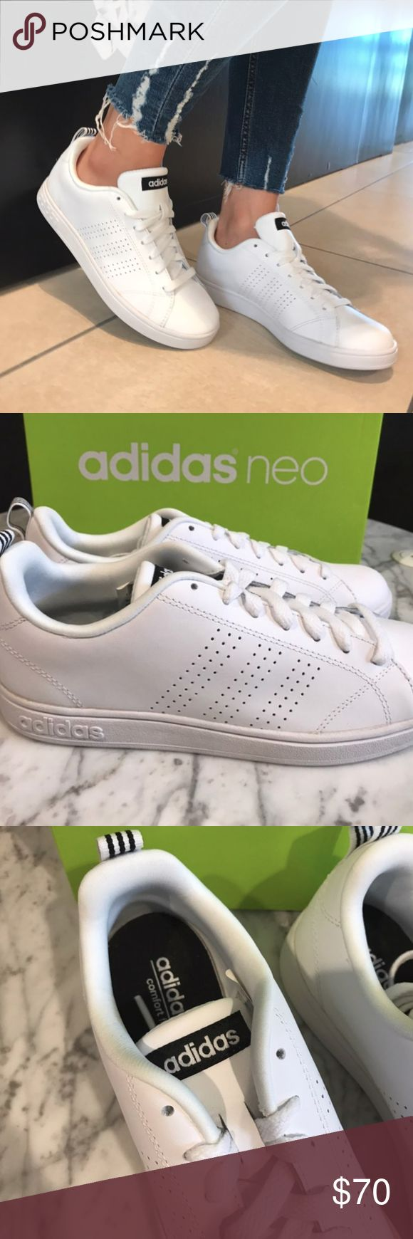 Adidas Neo Advantage Sneaker Adidas Women's Neo Advantage Sneaker All white sneaker Black & White Stripes on the back side only Punch hole style side stripes Leather upper Lace-up front Textured outsole adidas Shoes Sneakers