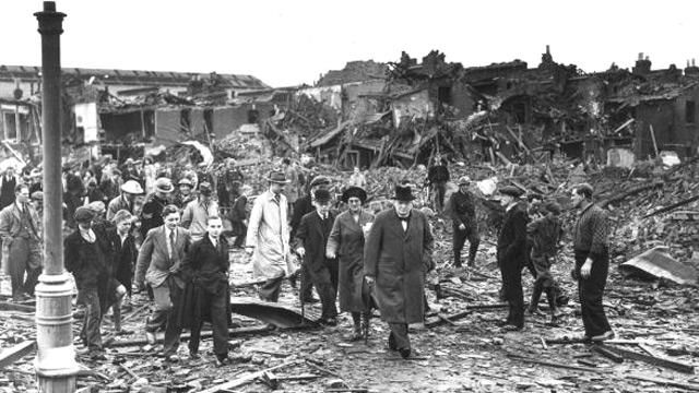 Germany bombs London  7-15 September 1940    On 7 September 1940, the Luftwaffe unleashed a merciless bombing campaign against London and Britain's major cities. Instead of breaking morale, however, the raids only galvanised the will of the British people for the rest of the war.    Photo: Winston Churchill inspecting bomb damage in Battersea, South London, 10 September 1940.