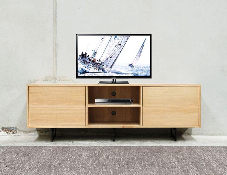 Odense Black Steel Leg Solid European Oak Wide TV Cabinet by Bent Design Studio for Huset