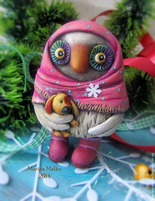 Купить Игрушка. Соффа Настёнина. - розовый, Папье-маше, совушка, подарок, игрушка ручной работы