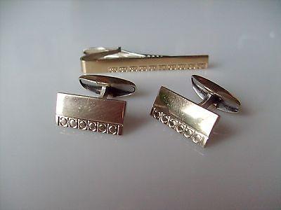 Martti Viikinniemi,  Silver Modernist Cufflinks & Tie Clip, 1960's. #Finland