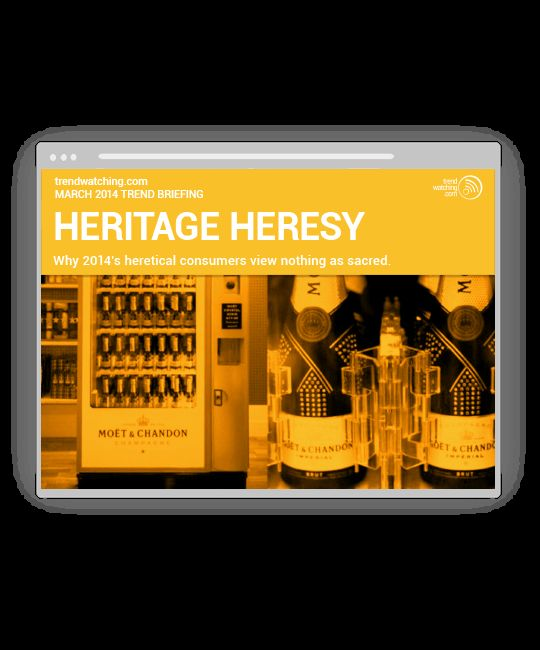 "trendwatching.com's March 2014 Trend Briefing covering the consumer trend ""HERITAGE HERESY"""