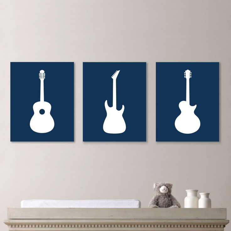 Baby Boy Nursery Art Print - Guitar Nursery Art - Boy Nursery Decor - Rock and Roll Art - Guitar Nursery - Guitar Decor. Navy Blue (NS-661) by RhondavousDesigns2 on Etsy https://www.etsy.com/listing/204279151/baby-boy-nursery-art-print-guitar