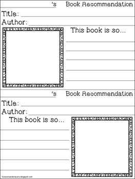 Freebie-Student-Book-Recommendation-Forms-for-Bulletin-Board-1384214 Teaching Resources - TeachersPayTeachers.com