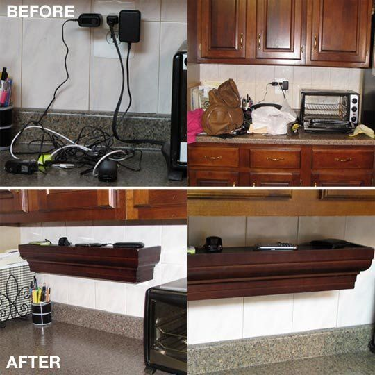 Unplggd reader Pam Fitz of Bibbidi-Bobbidi-Beautiful sent us this Home Hack-worthy DIY project that transformed her kitchen catch all area into a nicely organized charging station for all her hand held electronics devices, using extremely easy to find and install elements.