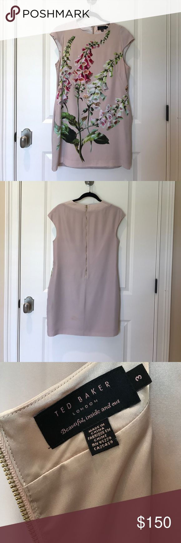 Ted Baker London Foxglove Print Silk Dress Sz 3 Beautiful botanical 100% silk dress with pockets! Perfect for a summer wedding  or even the office. Attached is a Ted Baker sizing chart. Two makeup stains pictured. Ted Baker London Dresses Mini