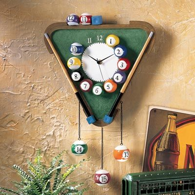 Pool And Billiards Themed Wall Clock