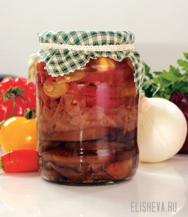 Баклажаны с перцем и помидорами в масле. Рецепт с фото