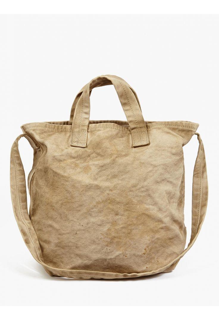 Men's Sand Aged-Effect Canvas Shopper Bag