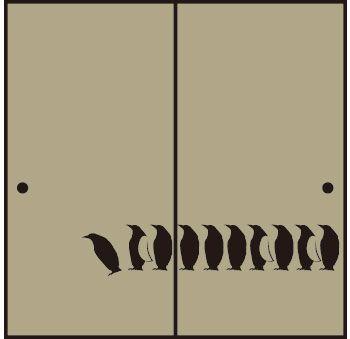 ペンギン柄の襖紙・ふすま紙