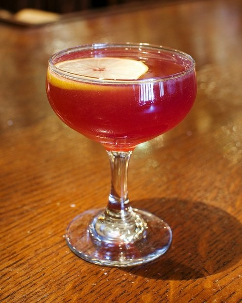 The Parisian from The Crunkleton – made with Bombay London Dry Gin, Noilly Pratt Dry Vermouth, Briottet Creme de Cassis, lemon juice.