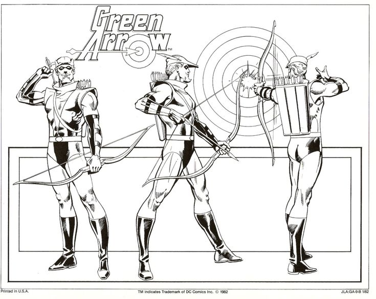 Green Arrow Free Coloring Pages