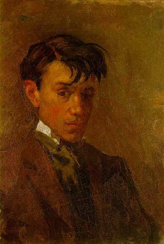 Pablo Picasso. Self-Portrait. 1896. Oil on canvas. Museo Picasso, Barcelona, Spain. During 1893 the juvenile quality of his earliest work falls away, and by 1894 his career as a painter can be said to have begun.The academic realism apparent in the works of the mid-1890s