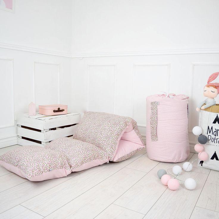 Pillow Mattress - Childrens Mattress - Children Pillow - Flowers Pillow Bed - Reversible Pad - Pink Pillow Bed - Pink Bedding by MamaPotrafi on Etsy